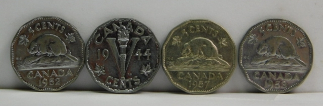 Lot of 8 Canada 5 Cent Coins 1942-1957