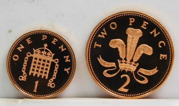 1997 Great Britain 1 Penny & 2 Pence - Proof Condition w/Deep Mirrors and Cameos - Low Mintage of Only 100,000!!!