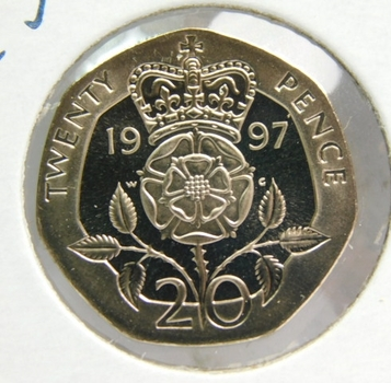 1997 Great Britain 20 Pence - Proof Condition w/Deep Mirrors and Cameos - Low Mintage of Only 100,000!!!
