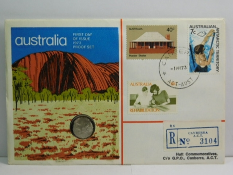 1973 Australia First Day of Issue Proof Set - Five Cents - #134 of 320 Issued