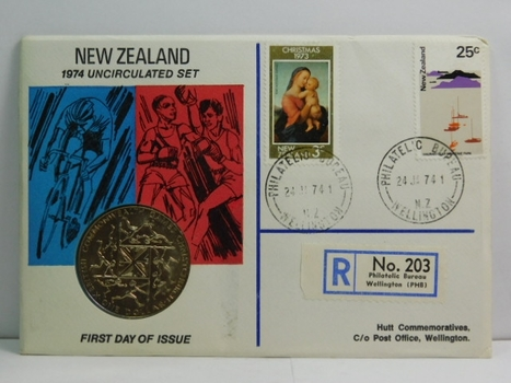1974 New Zealand Uncirculated Set - X British Commonwealth Games Christchurch Commemorative Dollar - #83 of 350 Issued
