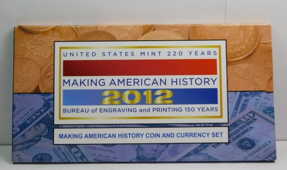 Making American History Coin and Currency Set - 2012-S Proof American Silver Eagle and Series 2009 $5 Crisp Uncirculated Federal Reserve Note - In Nice Display Holder with Informative Story Boards