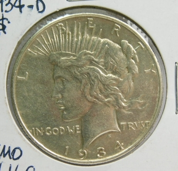 1934-D Peace Silver Dollar - Denver Minted - Nice Detail