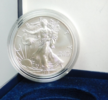 2015-W Burnished American Silver Eagle - West Point Minted - Pure White Coin - In Original Gift Box from Mint