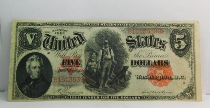 1907 $5 Woodchopper Legal Tender Note - Nice Higher Grade Note!