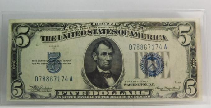 Series 1934A $5 Silver Certificate - Crisp Uncirculated Note