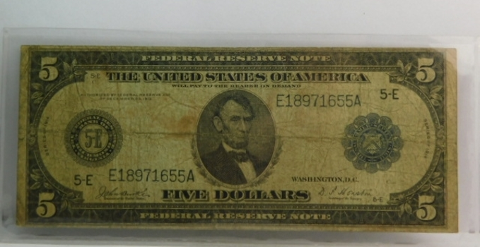 Series 1914 $5 Federal Reserve Note - Federal Reserve Bank of Richmond, Virginia