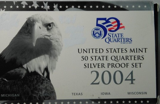2004 United States Mint 50 State Quarters SILVER Proof Set - Michigan, Florida, Texas, Iowa & Wisconsin