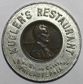 1937 Kugler's Restaurant Philadelphia Encased Cent - High Grade 1937 Lincoln Cent