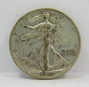 1942-S US Silver Walking Liberty Half Dollar! Nice & Tough War Time Silver Coin From San Francisco Mint!