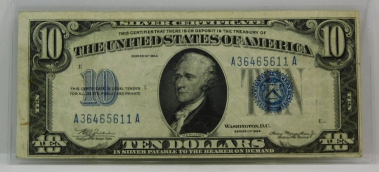 1934 $10 Silver Certificate-ABOVE AVERAGE Condition-No Tears Or Holes-Nice Collector Piece!