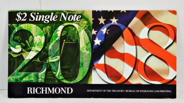 Series 2003A United States Two-Dollar ($2) Uncirculated Richmond Note - Serial # Begins with 2008 - #E20086460D - In Collector's Folder
