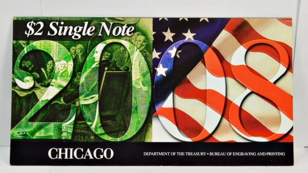 Series 2003A United States Two-Dollar ($2) Uncirculated Chicago Note - Serial # Begins with 2008 - #G20089415D - In Collector's Folder