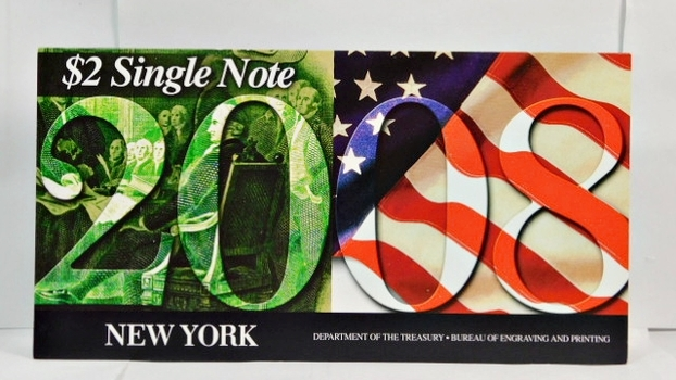 Series 2003A United States Two-Dollar ($2) Uncirculated New York Note - Serial # Begins with 2008 - #B20085749D - In Collector's Folder