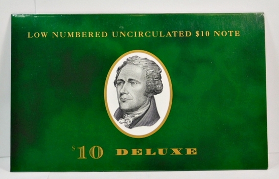 Low Numbered Uncirculated Series 1999 $10 Note First Issued on May 24, 2000 - In Collector's Folder from The Department of Treasury - #BE00005202A