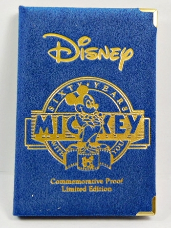 """A RARE COLLECTOR'S EDITION - Disney's """"MICKEY 60 Years with You"""" - 1988 #3. The Sorcerer's Apprentice - Proof One Troy Ounce .999 Fine Silver - Serial No. 05238 - Includes Inner Gift Box"""