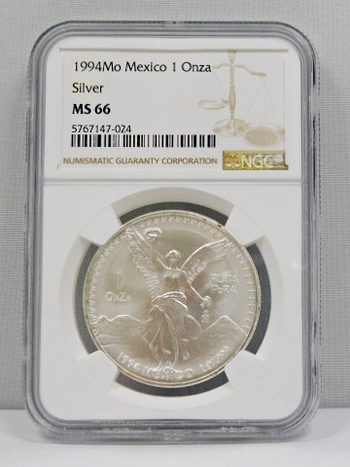 1994Mo Mexico 1 Onza/Libertad - .999 Fine Silver - Graded MS66 by NGC