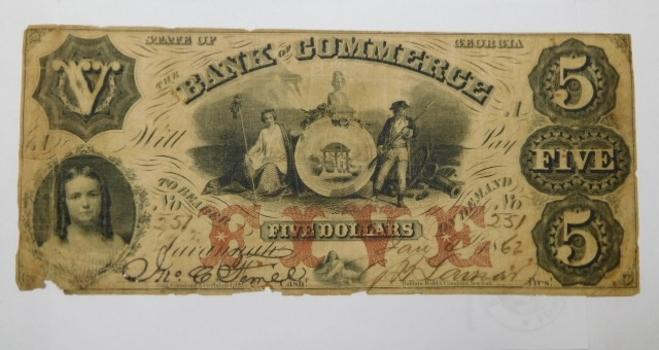 1862 $5 State of Georgia Bank of Commerce Civil War Era Bank Note