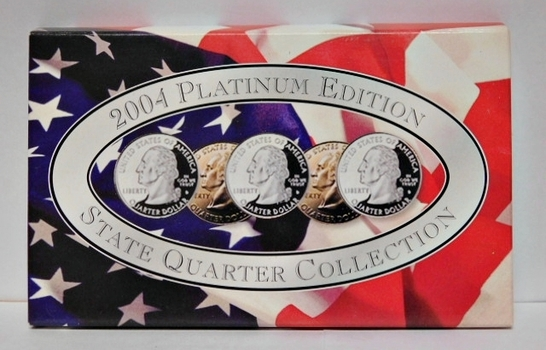 2004 Platinum Edition State Quarter Collection-All 5 2005 State Quarters-Platinum Layered & Beautiful!