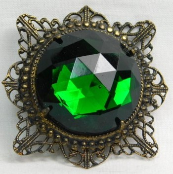 """Large Vintage Emerald Green Brooch - Approx. 2 1/4"""" x 2 1/4"""""""
