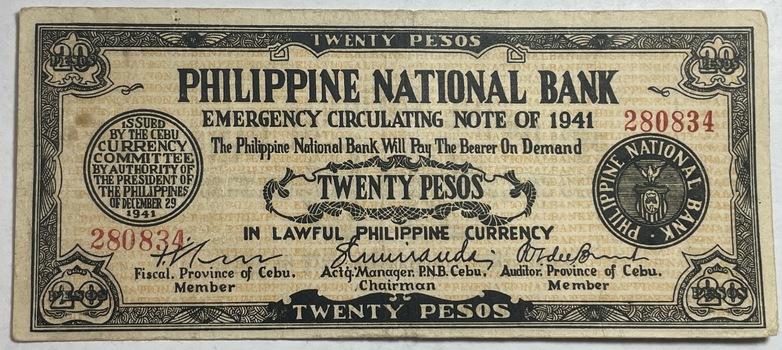 1941 Philippines 20 Pesos World War II Emergency Circulating Bank Note