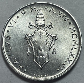 1976 Pope Paul VI Vatican City 10 Lire - High Grade