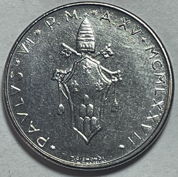 1977 Pope Paul VI Vatican City 50 Lire - High Grade
