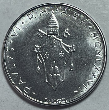 1977 Pope Paul VI Vatican City 100 Lire - High Grade