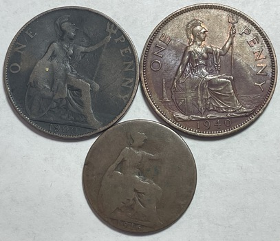 Lot of (3) Early 1900's Great Britain Pennies and Half Penny