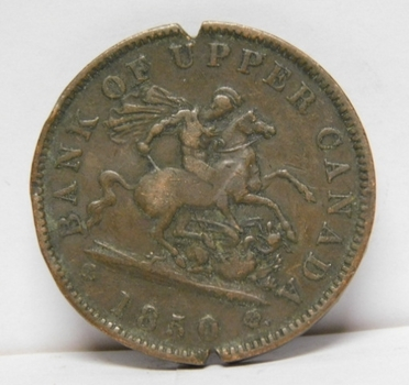 1850 Bank of Upper Canada One Penny - St. George Slaying Dragon