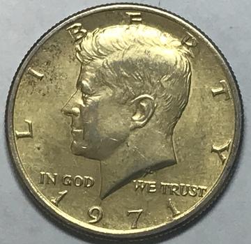 24K Gold Plated 1971 Kennedy Half Dollar