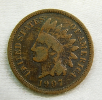 1907 Indian Head Cent - Very Well Outlined - Date Clearly Visible