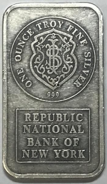 Vintage Johnson Matthey Republic National Bank of New York 1 oz .999 Fine Silver Bar - Serial #019125
