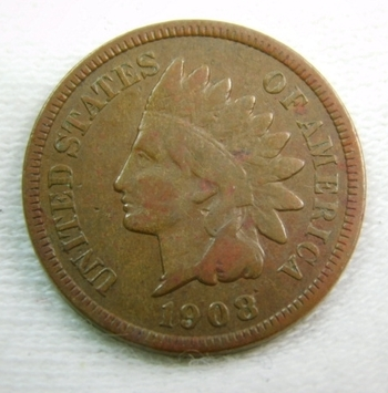 1908-S Indian Head Cent - LIBERTY Visible but Weak - Very Well Outlined with Clear Date and Mint Mark - Struck at the San Francisco Mint