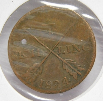 1824 Sweden 1/4 Skilling - Low Mintage!