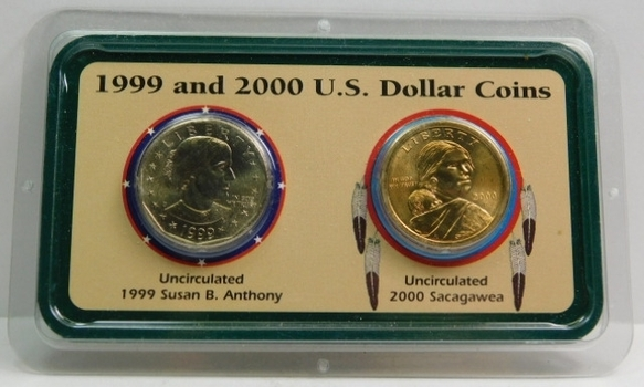 1999-D Susan B. Anthony and 2000-P Sacagawea Dollar Coins - Packaged by the Littleton Coin Co. - Brilliant Uncirculated