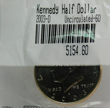 2003-D Kennedy Half Dollar - Graded Uncirculated 60 and Packaged by The Littleton Coin Company