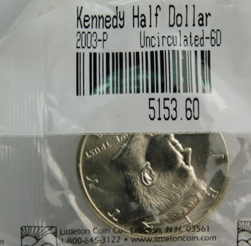 2003-P Kennedy Half Dollar - Graded Uncirculated 60 and Packaged by The Littleton Coin Company