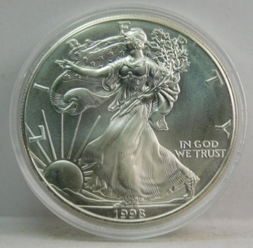 1998 $1 American Silver Eagle - Brilliant Uncirculated Pure White Coin