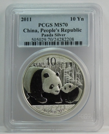 2011 China Silver Panda 10 Yuan 1 oz .999 Fine Silver PCGS Graded MS70