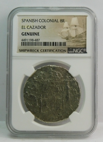 El Cazador - Sunken Treasure Shipwreck Spanish Colonial Silver 8 Reales - NGC Genuine Shipwreck Certification