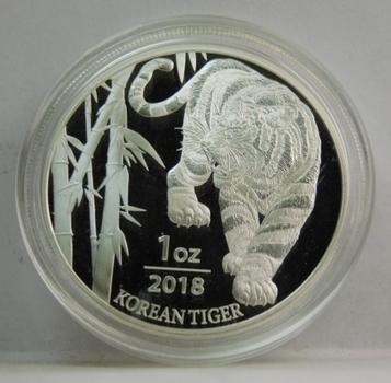 2018 1 oz .999 Fine Silver Korean Tiger Commemorative - Proof Condition