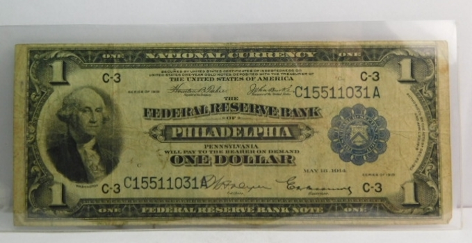 Series of 1918 $1 Federal Reserve Bank of Philadelphia National Currency - Nice Note!