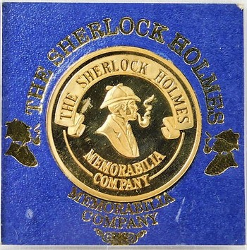 Gold Plated Sherlock Holmes Memorabilia Medal - Minted by the Memorabilia Company - 39mm
