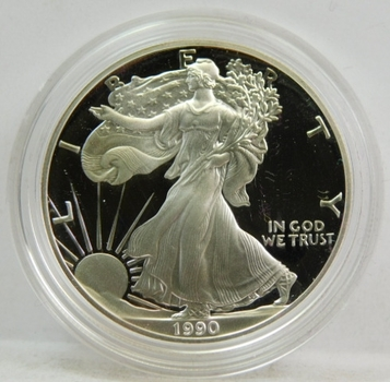 1990-S Proof American Silver Eagle - In Original Purple Velvet Box from the San Francisco Mint