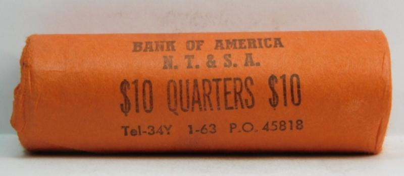 Unopened, Uncirculated Bank Roll of 1963 Silver Washington Quarters - $10.00 Face Value - Bank of America