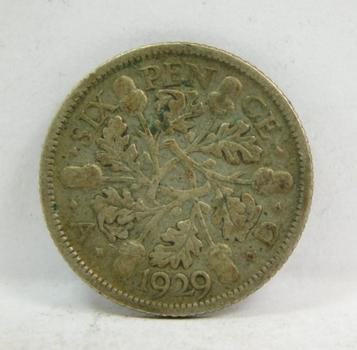 1929 Great Britain Silver 6 Pence