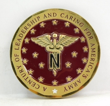 """Challenge Coin - U.S.Army - Nurse Corps - 1901/2001 - A Century of Leadership and Caring for America's Army - 2"""" Diameter"""