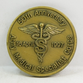"Challenge Coin - 50th Anniversary - Army Medical Specialist Corps - 1.5"" Diameter"