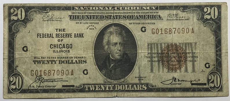 1929 $20 Federal Reserve Bank of Chicago, Illinois - National Currency
